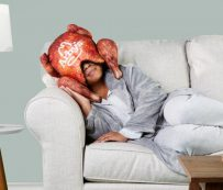 Máscaras para dormir con forma de pavo: almohada de pavo frito